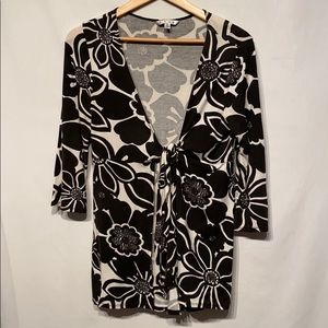 Cabi Floral Tie Front Knot Cardigan Size Large